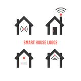 Set of four black smart house logos. Concept of eco house, automation, home technology, advanced, freelance. isolated on white background. flat style trendy Royalty Free Stock Image