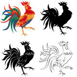 Set of four black, white and colored roosters isolated on white background. 2017 fiery red rooster. illustration. Set of four black, white and colored roosters Stock Images