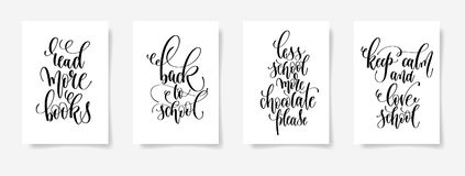 Set of four black and white hand lettering concept poster for ba Royalty Free Stock Photography