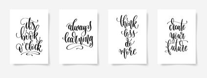 Set of four black and white hand lettering concept poster for ba Royalty Free Stock Photos