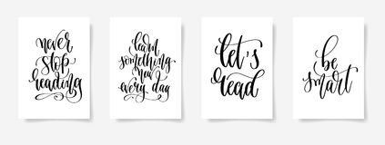 Set of four black and white hand lettering concept poster for ba Stock Images