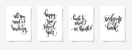 Set of four black and white hand lettering concept poster for ba Stock Image