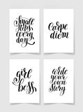 Set of four black and white handwritten lettering positive quote Royalty Free Stock Images