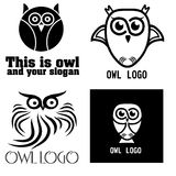 A set of four black and white logo owl Stock Photo