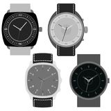 Set of four black and white watches on white background. Clock face with hour, minute and second hands. Vector illustration Stock Photos