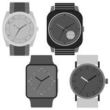 Set of four black and white watches on white background. Clock face with hour, minute and second hands. Vector illustration Royalty Free Stock Photography