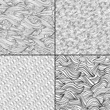 Set of four black and white wave patterns. Black and  white colors. Seamless pattern can be used for wallpaper, pattern fills, web page background, surface Stock Photos