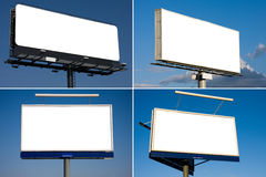 Set of four blank billboards Royalty Free Stock Images
