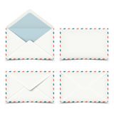 Set of four blank white envelopes  on white Royalty Free Stock Images