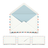Set of four blank white vector envelopes Stock Image