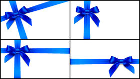 Set of four blue bow card Royalty Free Stock Photography