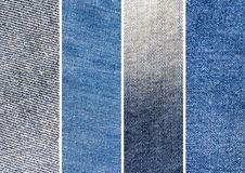 Set of Four Blue Denim Jeans Texture. Background, Backdrop, collage royalty free stock photography