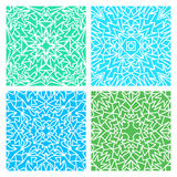 Set of four blue and green lacy seamless eastern patterns. Set of four blue and green lacy quadrate seamless oriental backgrounds Royalty Free Stock Image