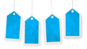 Set of four blue paper price tags Stock Photo