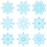 Set four blue snowflakes. Set four blue snowflakes, vector eps 10 Royalty Free Stock Images