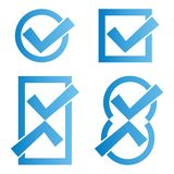 Blue tick icons Royalty Free Stock Photos