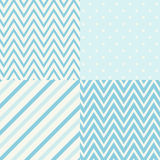 Set of four blue and white seamless geometric patterns. Vector illustration. Vector set of four seamless geometric patterns for scrapbooking in blue and white Stock Image