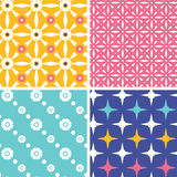 Set of four blue yellow pink geometric patterns Royalty Free Stock Photography