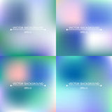 Set of four bright blurry backgrounds Stock Image