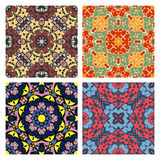 Set of four bright seamless eastern patterns Royalty Free Stock Photos