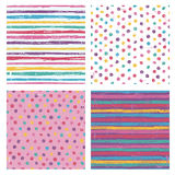 Set of four bright  seamless patterns Royalty Free Stock Images