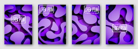 Set of four brochures, posters, flyers. Three dimensional shape with the shadow. Paper style. Purple tones. For your design. 10 eps royalty free illustration