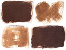 Set of four brown grunge brushstroke backgrounds Stock Image