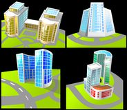 Set of four buildings. Stock Photography