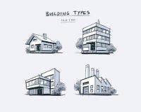 Set of Four Buildings Types Hand Drawn Cartoon Illustration Royalty Free Stock Photos