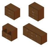 Set of four bureau. Isometric. Stock Image