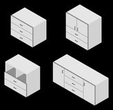 Set of four bureau. Isometric. Set of four bureau. Vector illustration. Set for isometric interior Royalty Free Stock Photography