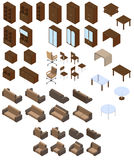 Set of four bureau. Isometric. Set of four bureau. Vector illustration. Set for isometric interior Stock Image