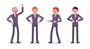 Set of four business male characters stock illustration