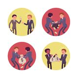 Set of four business scenes royalty free illustration