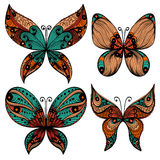 Set of four butterfly silhouettes Stock Photo