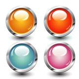 Set of four buttons Stock Photos