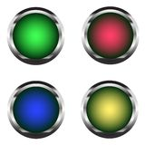 Set of four buttons with a metal base. Stock Photo