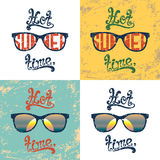 Set of four calligraphic summer backgrounds. Stock Images