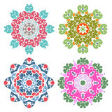 Set of four candy color mandalas Royalty Free Stock Photography
