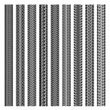 Set of four car tire track. Isolated on white. eps10 Stock Image