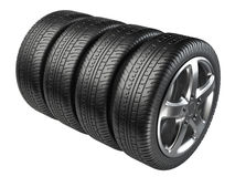 Set of four car wheels Stock Images