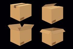 Set of Four Cardboard Boxes. Open and Closed Box Stock Images