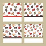 Set of four cards with autumn theme Royalty Free Stock Images