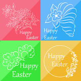 Set of four cards that can be used for congratulation on Easter Stock Photos