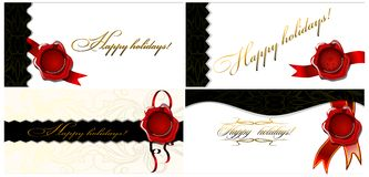 A set of four cards Happy holidays! 02 (vector) Stock Photo