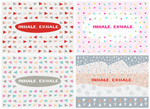 Set of four cards, vector templates. Inhale. Exhale. Set of four cards in a minimal style with lettering and speech bubble, vector templates. Inhale. Exhale Royalty Free Stock Photo