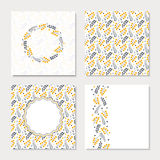 Set of four cards with yellow abstract flowers Royalty Free Stock Image