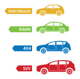 Set of four cars Royalty Free Stock Images