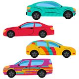A set of four cars painted in different colors royalty free illustration