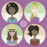 Set of four cartoon avatars - girls 02 Royalty Free Stock Photo